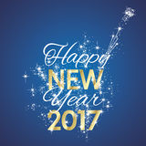 2017 Happy New Year firework blue background vector. 2017 Happy gold New Year champagne firework white stars blue background vector Stock Images