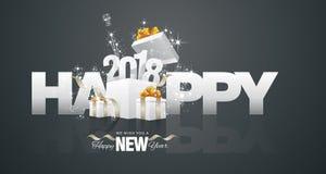 Happy New Year 2018 firework box black greeting card. Vector Royalty Free Stock Photo