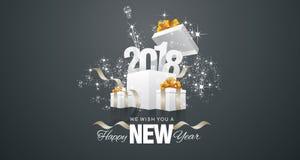 Happy New Year 2018 firework box black landscape background. Vector Stock Photo