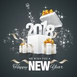 Happy New Year 2018 firework box back background. Happy New Year 2018 firework box gold ribbon black background greeting card vector Stock Images