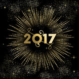 Happy New year 2017 firework burst in gold. Happy New Year 2017 gold design with firework explosion illustration. Ideal for holiday greeting card or poster Stock Photography