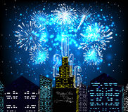 Happy new year 2016 with firework city at night Stock Photography