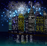 Happy new year 2016 with firework city at night Stock Image