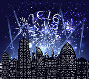 Happy new year 2016 with firework city at night.  vector illustration