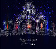 Happy new year with firework city at night Stock Photo