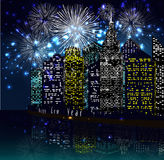 Happy new year with firework city at night Stock Images