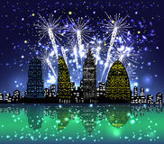 Happy new year with firework city at night. For design royalty free illustration