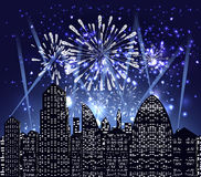 Happy new year with firework city at night Royalty Free Stock Image