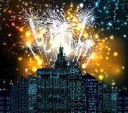 Happy new year with firework city at night. For design vector illustration