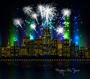 Happy new year with firework city at night. For design Royalty Free Stock Image