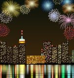 Happy new year with firework city at night Royalty Free Stock Photography