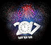 Happy New Year 2017 Firework and clock.  Royalty Free Stock Photos