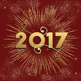 Happy New Year 2017 firework design in gold. Happy New Year 2017 gold design with firework explosion illustration. Ideal for holiday greeting card or poster Royalty Free Stock Photography