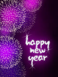 Happy new year firework fireworks. Colorful impressive fireworks happy new year celebration pink Stock Photos