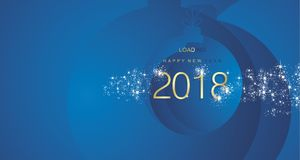 Happy New Year 2018 firework gold blue abstract ball landscape background. Vector Royalty Free Stock Photos