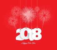 Happy new year 2018 firework.  Royalty Free Stock Photography
