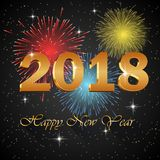 Happy new year 2018 with firework. Background.  illustration Stock Image