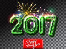 Happy New 2017 Year firework invitation. Realistic glass font with transparency and shadows. 3D bulb  green numbers on the firework background Royalty Free Stock Photo