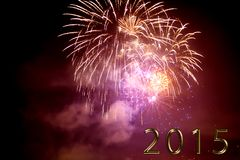 Happy new year 2015 - firework by night Stock Photography
