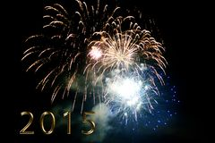 Happy new year 2015 - firework by night Stock Photos