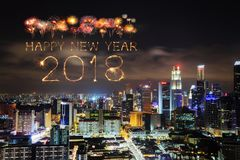 2018 Happy new year firework with Singapore cityscape at night Stock Images