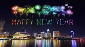 2018 Happy new year firework with Singapore cityscape at night Royalty Free Stock Photo