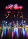 2018 Happy new year firework Sparkle with central business distr Stock Image