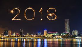 2018 happy new year firework sparkle with cityscape of singapore stock image image of night esplanade 100993501