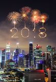 2018 Happy new year firework Sparkle with cityscape of Singapore Stock Image