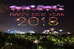 2018 Happy new year firework Sparkle with Gardens by the bay at. 2018 Happy new year firework Sparkle with Gardens by the bay with light at night, Singapore Royalty Free Stock Photos