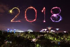 2018 Happy new year firework Sparkle with Gardens by the bay at. 2018 Happy new year firework Sparkle with Gardens by the bay with light at night, Singapore Stock Photography