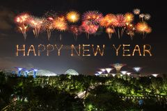 Happy new year firework Sparkle with Gardens by the bay at night. Happy new year firework Sparkle with Gardens by the bay with light at night, Singapore Royalty Free Stock Photo