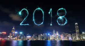 2018 Happy new year firework Sparkle with Hong Kong cityscape. At night Stock Images