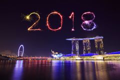 2018 Happy new year firework with Singapore cityscape at night Royalty Free Stock Photos
