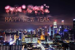 Happy new year firework with Singapore cityscape at night Stock Images