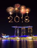 2018 Happy new year firework with Singapore cityscape at night Royalty Free Stock Photography