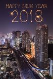 2018 Happy new year firework Sparkle with Tokyo cityscape, Japan. 2018 Happy new year firework Sparkle with Tokyo cityscape at night, Japan Stock Photography