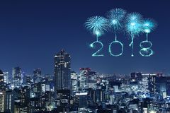 2018 Happy new year firework Sparkle with Tokyo cityscape, Japan. 2018 Happy new year firework Sparkle with Tokyo cityscape at night, Japan Royalty Free Stock Photos