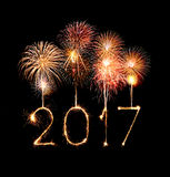 2017 Happy New Year firework sparklers. At night stock illustration
