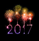 2017 Happy New Year firework sparklers. At night Royalty Free Stock Images