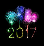 2017 Happy New Year firework sparklers. At night Royalty Free Stock Image