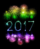 2017 Happy New Year firework sparklers. At night Royalty Free Stock Photo