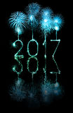 2017 Happy New Year firework sparklers Royalty Free Stock Photography
