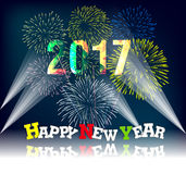 Happy new year 2017 with Firework. Vector Stock Image