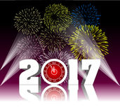 Happy new year 2017 with Firework. Vector Stock Images