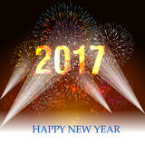 Happy new year 2017 with Firework. Vector Royalty Free Stock Photo