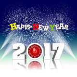 Happy new year 2017 with Firework Stock Image