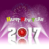 Happy new year 2017 with Firework. Vector Royalty Free Stock Images