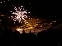 Happy new year firework winter landscape Royalty Free Stock Photos