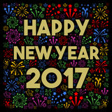 Happy New Year 2017. With fireworks Stock Photos